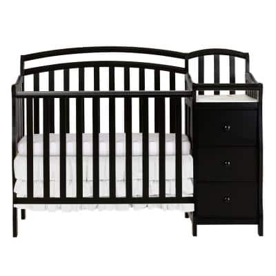 Casco 4-in-1 Black Mini Crib and Changing Table