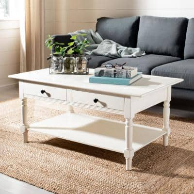 Boris 42 in. Cream Large Rectangle Wood Coffee Table with Drawers