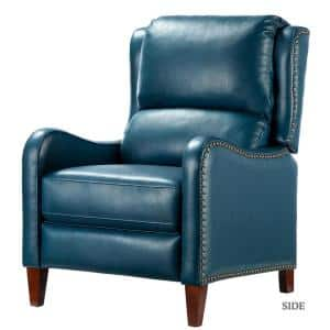 Hyde Turquoise Nailhead Genuine Leather Recliner
