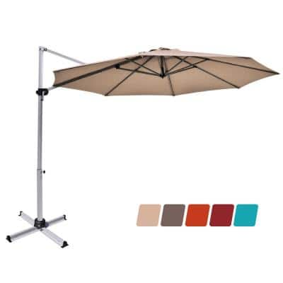 11 ft. Aluminum Tilt Cantilever Offset Patio Umbrella in Tan with 360 degrees Rotation