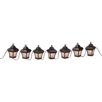 Patio Lights 7-Light Antique Bronze LED Altina String Lanterns