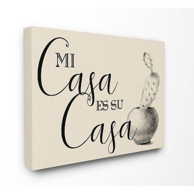 "16 in. x 20 in.""Mi Casa es Su Casa Tan Spanish Cactus Drawing"" by Artist Daphne Polselli Canvas Wall Art"