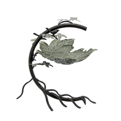 Galvanized Maple Leaf Iron Birdbath