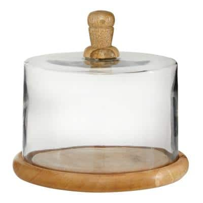8 in. x 6 in. Brown Wood and Clear Glass Cloche