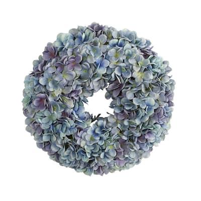 16 in. Blue Hydrangea Artificial Wreath