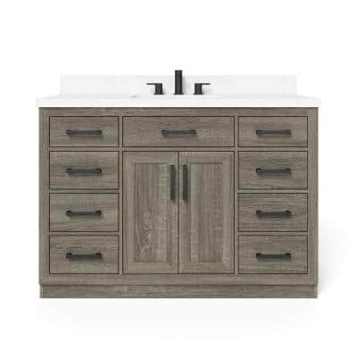 Pittsford 48 in. W x 21 in. D Vanity in Aged Grey with Ceramic Vanity Top in White with White Basin