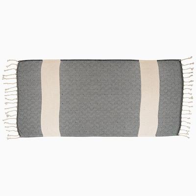 Black 100% Cotton Turkish Hand Towels 18 in. x 40 in. Diamond Peshtemal Kitchen and Bath Towels (Set of 2)
