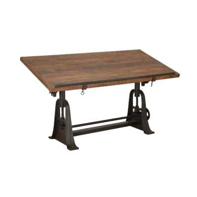62 in. Brown Rectangle Teak Industrial Console Table