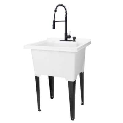 25 in. x 21.5 in. ABS Plastic Freestanding Utility Sink in White - Black Hi-Arc Coil Faucet, Soap Dispenser
