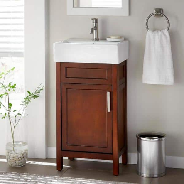 Home Decorators Collection Arvesen 18 In W X 12 In D Vanity In Tobacco With Ceramic Vanity Top In White With White Sink Arvesen 18t The Home Depot