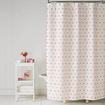 Colorful Dot 72 in. Pink Shower Curtain