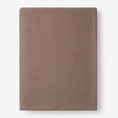 Cotton Weave Walnut Solid Twin Woven Blanket