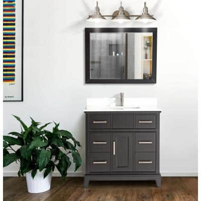 Genoa 36 in. W x 22 in. D x 36 in. H Vanity in Espresso with Single Basin Vanity Top in White Phoenix Stone and Mirror