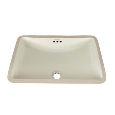Rectangular Undercounter Ceramic Vessel Sink in Biscuit