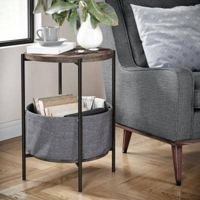 Oraa Nutmeg and Black Metal Frame Nightstand or Side Table with Storage Basket