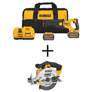 FLEXVOLT 60-Volt MAX Cordless Brushless Reciprocating Saw with (2) FLEXVOLT 9.0Ah Batteries & 6-1/2 in. Circular Saw