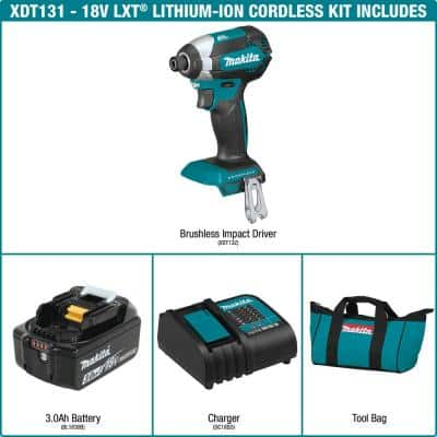 18-Volt LXT Lithium-Ion Brushless Cordless Impact Driver Kit with (1) Battery 3.0Ah