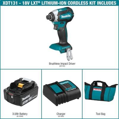 18-Volt LXT Lithium-Ion Brushless Cordless Impact Driver Kit (3.0Ah) with Impact XPS 35 Piece Impact Bit Set