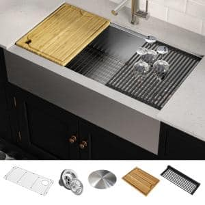 Kore Workstation Farmhouse/Apron-Front Stainless Steel 36 in. Single Bowl Kitchen Sink with Accessories