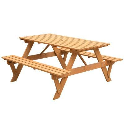 Stained Rectangular Wood 29.25 in. H Picnic Table A-Frame Outdoor Patio Deck Garden