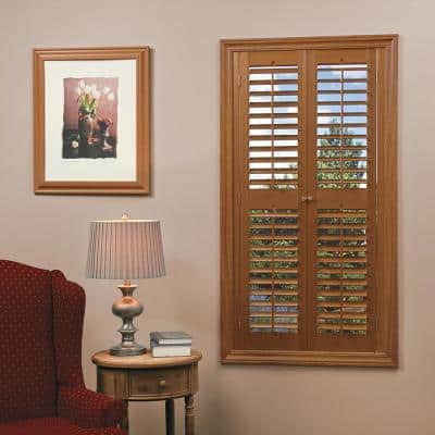 Oak 2-1/4 in. Plantation Faux Wood Interior Shutter 39 to 41 in. W x 54 in. L