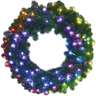 36 in. Pre-Lit Artificial Christmas Wreath Arrangement with Multi-Color Lights