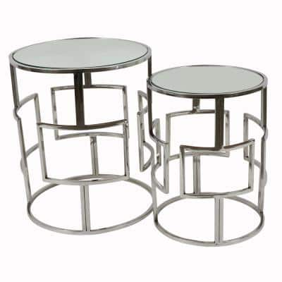 Adrian Silver Mirrored Nesting Tables