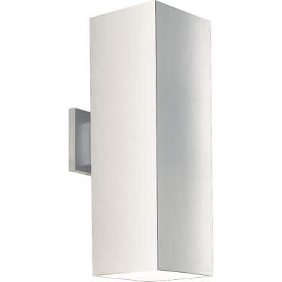 """Square Collection 6"""" White Aluminum Outdoor Up/Down Wall Lantern Light"""