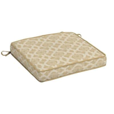 CushionGuard Almond Biscotti Trellis Square Outdoor Seat Cushion (2-Pack)