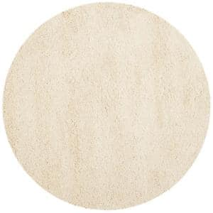 California Shag Ivory 4 ft. x 4 ft. Round Area Rug