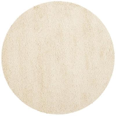 California Shag Ivory 5 ft. 3 in. x 5 ft. 3 in. Round Area Rug