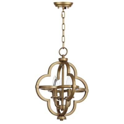Mila 3-Light Gold Quatrefoil Cage Pendant