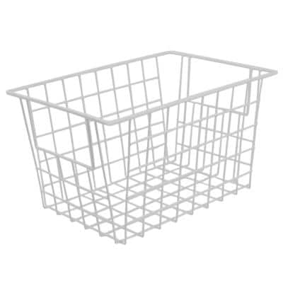 Vinyl Coated 6.5 in. x 5.25 in. White Pull-Out Steel Basket