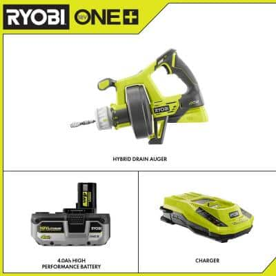 ONE+ 18V Hybrid Drain Auger with HIGH PERFORMANCE 4.0 Ah Battery and Charger Kit