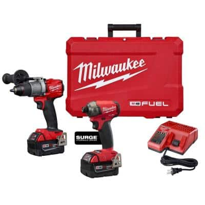 M18 FUEL 18-Volt Lithium-Ion Brushless Cordless Surge Impact and Hammer Drill Combo Kit (2-Tool) w/(2) 5.0Ah Batteries