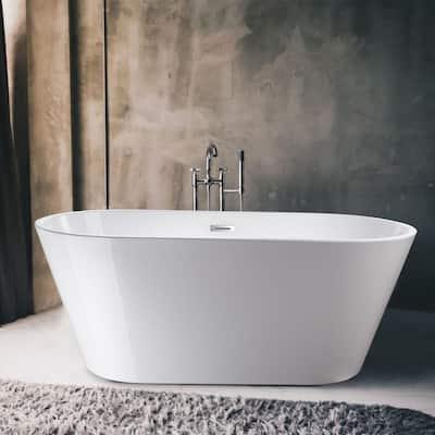 Domme 59 in. Acrylic Flatbottom Freestanding Non-Slip Bathtub in White