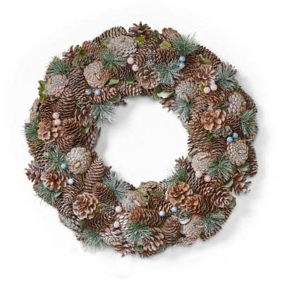 18.5 in. Natural Brown and White Glitter Unlit Artificial Christmas Wreath with Pine Cones