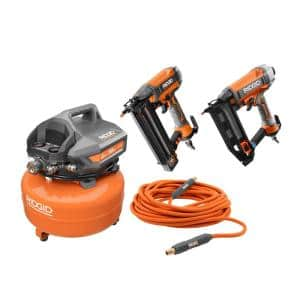 6 Gal. Compressor with 50 ft. Lay Flat Hose and 18-Gauge Brad Nailer with 16-Gauge Straight Finish Nailer