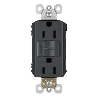 radiant 15 Amp 125 Volt Tamper Resistant Self-Test GFCI Duplex Outlet, Graphite