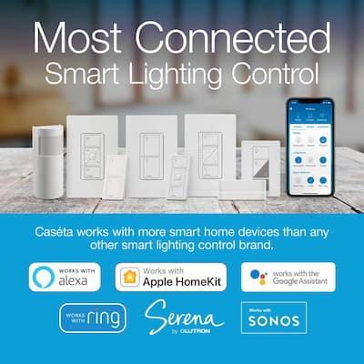 Caseta Wireless Smart Lighting Dimmer Switch (2 count) Starter Kit with Smart Bridge, Pedestals for Pico Remotes