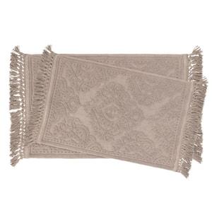 Ricardo Cotton Fringe 17 in. x 24 in./21 in. x 34 in. 2-Piece Bath Rug Set in Linen