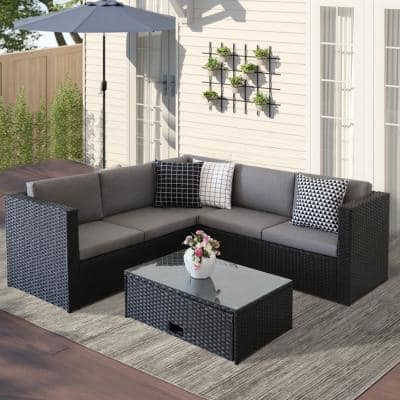 B2 Black Wicker Outdoor Sectional Set with Gray Cushions