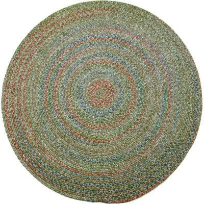 Winslow Moss Green Multicolored 6 ft. x 6 ft. Round Indoor/Outdoor Braided Area Rug