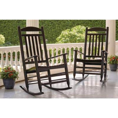 Black Wood Outdoor Rocking Chair