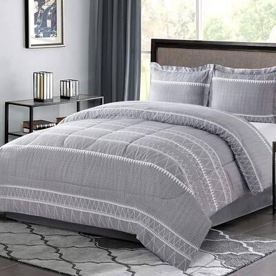 2-Pieces Gray Printed Microfiber Twin Bedding Comforter Set