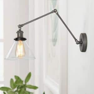 Mancos Gray and Black Adjustable Metal Swing Arm Plug-In Wall Sconce for living room, Bedroom and Hallway