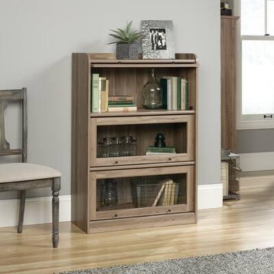 47.13 in. Salt Oak Faux Wood 4-shelf Barrister Bookcase with Storage