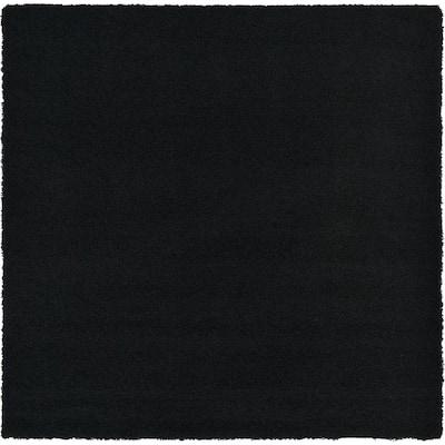 Solid Shag Jet Black 8 ft. Square Area Rug