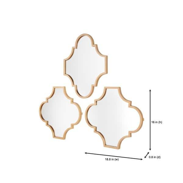 Stylewell Small Ornate Gold Classic Accent Mirror Set Of 3 16 In H X 19 In W 17mjkc2277 The Home Depot