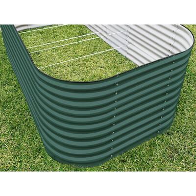 32 in. Extra-Tall 10-In-1 Modular British Green Metal Raised Garden Bed Kit